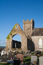 Dungarvan Abbeyside Augustinian Friary East Window and Tower 2015 09 15.jpg