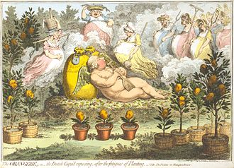 William V, Prince of Orange - In The Orangerie (1796), James Gillray caricatured William's dalliances during his exile, depicting him as an indolent Cupid sleeping on bags of money, surrounded by pregnant amours