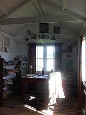 Interior do galpão de redação de Dylan Thomas