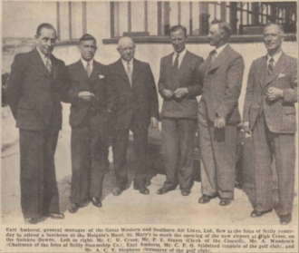 Jeffery Amherst, 5th Earl Amherst - Western Morning News. Thursday 17 August 1939. Earl Amherst, general manager of the Great Western and Southern Air Lines Ltd., marking the opening of St Mary's Airport, Isles of Scilly. Left to right: Mr. C.W. Cross, Mr. P.E. Stuart (Clerk of the Council), Mr. A. Woodcock (Chairman of the Isles of Scilly Steamship Co.), Earl Amherst, Mr. C.P.O. Stideford (captain of the golf club), and Mr. A.C.V. Stephens (treasurer of the golf club).