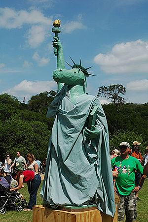 Eeyore's Birthday Party - The Eeyore of Liberty, a statue which combines The Statue of Liberty with Eeyore, frequently appears near the drum circles at this annual event.