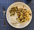 Eggs with mushrooms cottage cheese and olives.jpg