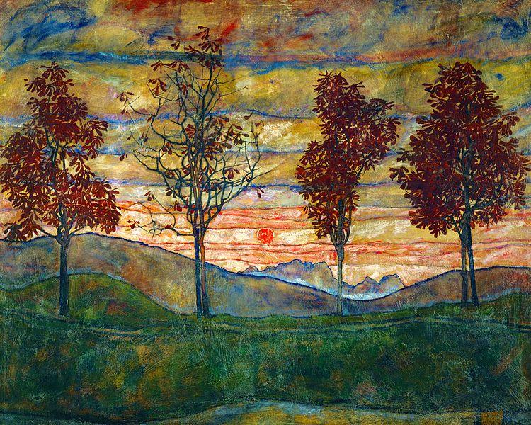 Vier Bäume (Kastanienallee im Herbst)