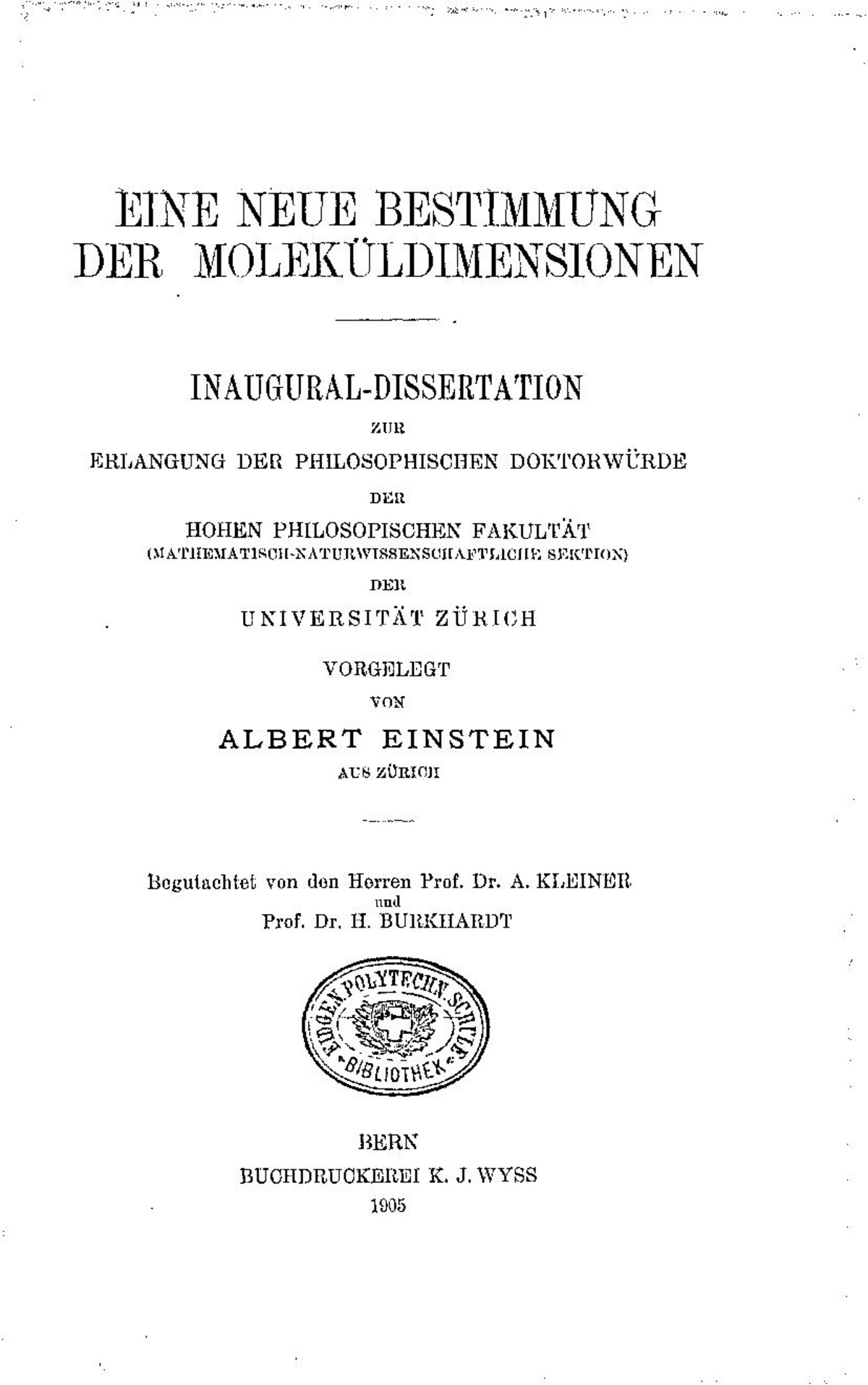 Dissertation albert einstein