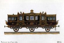 Den hannoverschen Eisenbahnsalonwagen für König Georg V. entwarf Eduard J. H. Witte im Jahr 1853, und er dokumentierte ihn in diesem Aquarell.[1] (Quelle: Wikimedia)