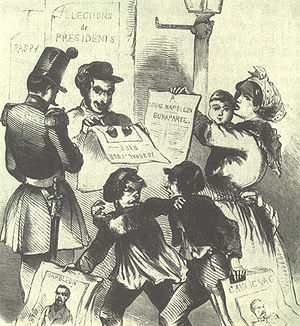 French presidential election, 1848 - Two boys, one holding a poster for Louis-Napoléon and the other for Cavaignac, fighting