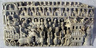 Pulcheria - The Trier Ivory, representing a procession with royal figures theorized to depict Theodosius II and Pulcheria.