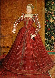 "The ""Hampden"" portrait, by Steven van der Meulen, ca. 1563. This is the earliest full-length (2 m/7 ft tall) portrait of the young queen, and depicts her in red satin trimmed with pearls and jewels, made before the emergence of symbolic portraits representing the iconography of the ""Virgin Queen"". In November 2007 it was auctioned by Sotheby's for ₤2.6 million, more than twice the maximum predicted."