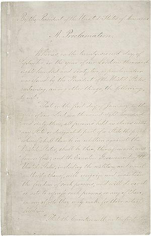 Page one of the Emancipation Proclamation.