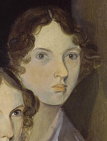 The only undisputed portrait of Brontë, from a group portrait by her brother Branwell[1]