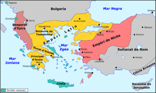 Latin Empire Feudal Crusader state (1204–1261) founded by the leaders of the Fourth Crusade on lands captured from the Byzantine Empire