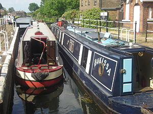 Enfield Lock (lock) -  Narrowboats passing through the lock