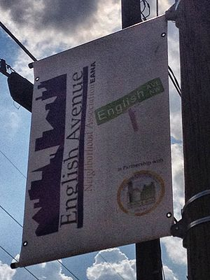 English Avenue and Vine City - English Avenue banner on street light pole