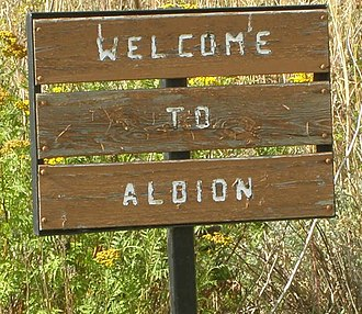 Albion, Washington - Welcome sign