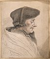 Erasmus; portrait in profile. Drawing, c. 1795, after H. Hol Wellcome V0009256.jpg