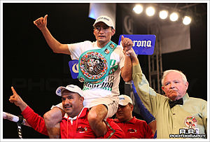 Érik Morales - Morales celebrating with the WBC Silver title, 2010