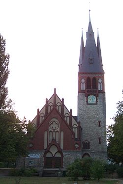 Erkner, Genezareth-Kirche, Portal und Turm (2008-09-22).JPG