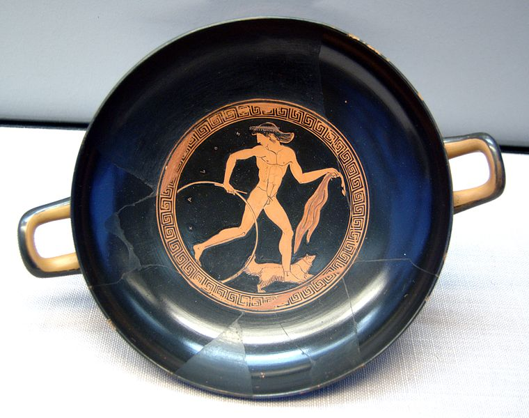 a Greek man running with a hoop (c. 470 BC) - Greco-Roman Hoop Rolling