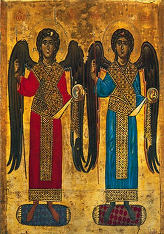 Angels in art - 12th century icon of the Archangels Michael and Gabriel wearing the loros of the Imperial guards.