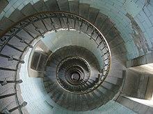 Vindeltrappe i Eckm?hl fyrt?rn set fra oven ned igennem durchsichten ...
