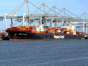 Essen Express IMO 9036909 , at the Amazone harbour, Port of Rotterdam, Holland 14-Jan-2007.jpg