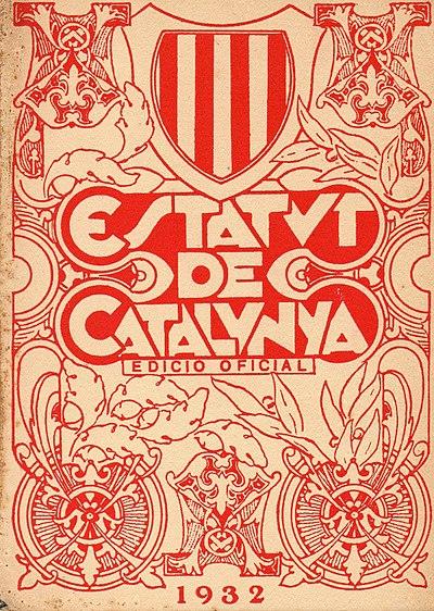 Portada del estatuto de autonomía de Cataluña de 1932.