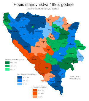 1895 population census in Bosnia and Herzegovina - Map based on results.