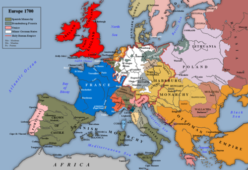 Europe at the beginning of the War of the Spanish Succession. Eugene fought primarily in northern Italy in the early years of the war, then later in the Low Countries. Europe, 1700--1714.png