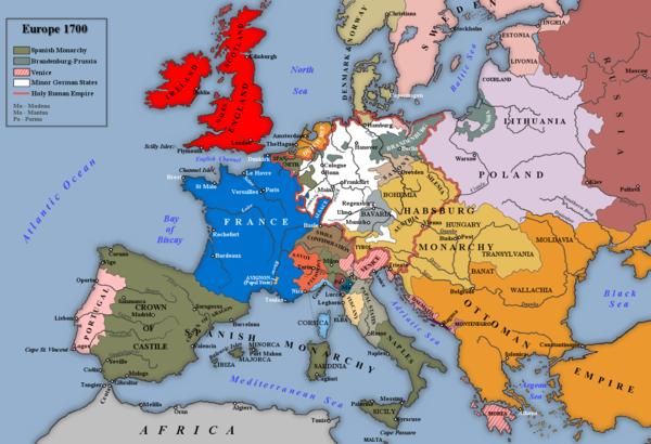 1700年頃のヨーロッパフランススペイン・ハプスブルクの家領オーストリア・ハプスブルクの家領