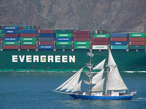 Evergreen container ship SF sailboat