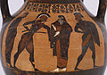 Exekias - Black-figure Belly Amphora with the Reclamation of Helen and Herakles and Kerberos - Walters 4816 - Side B Detail.jpg