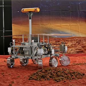 Abbie Hutty - An ExoMars prototype rover at the Royal Astronomical Society National Annual Meeting 2009 in Hatfield, England