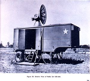 SCR-584 radar - Exterior view of the SCR-584. All operational equipment was housed inside, although the M-9 director, and electrical generators were separate. The antenna folds flat for travel.