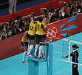 Exuberant Brazil jump for joy to win Olympic volleyball gold (7774932588).jpg