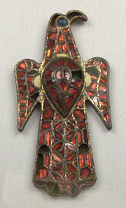 6th century bronze eagle-shaped Visigothic cloisonné fibula from Guadalajara, Spain.