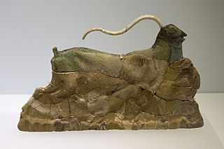 Faience plaque from Knossos, goat with kids