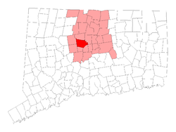 Location in Hartford County, کنیکٹیکٹ