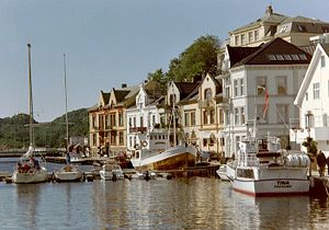 Farsund - View of the Farsund town harbour