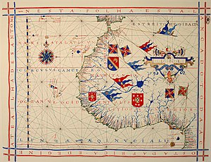 Fernão Vaz Dourado - Nautical chart of the 1571 atlas, depicting the northwestern coast of Africa (Portuguese National Archives of Torre do Tombo, Lisbon). The text in the border reads: On this sheet is drawn all the coast of Africa and Guinea up to South Tomé Island
