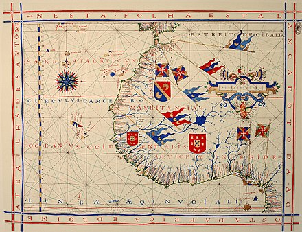 Pre-mercator navigation chart of the Coast of Africa (1571), by Fernao Vaz Dourado (Torre do Tombo, Lisbon) Fernao Vaz Dourado 1571-1.jpg