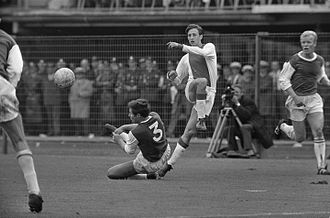 Johan Cruyff - Cruyff was instrumental in Ajax's dominance of European football in the early 1970s. He played for Ajax from 1957 to 1973 and 1981 to 1983 (seen here in 1967 against Feyenoord).