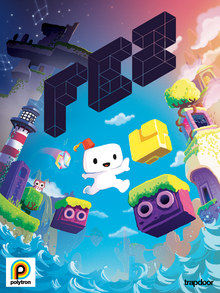 This cover art with a cool color palette shows a cartoonish Gomez hopping between two purple platforms lined with grass. The black, angled Fez logo is in the foreground, and various parts of Fez, including animals, the multicolored guide, a lighthouse, and the sea show in the background.