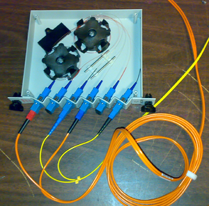 a fiber-optic splitter: 2x(input, 90% out, 10%out)