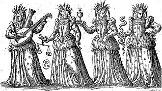 Cardinal virtues - An image personifying the four virtues (Ballet Comique de la Reine, 1582)