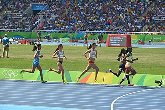 Lalita Babar - Babbar (first from left) during the 2016 Summer Olympics women's 3000 metres steeplechase final.