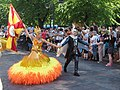 Flag bearer couple of Império do Papagaio at Helsinki Samba Carnaval.jpg