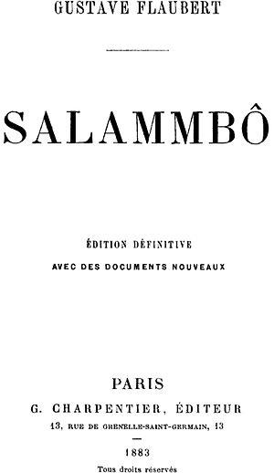 Salammbô - Title page of Salammbô by Gustave Flaubert