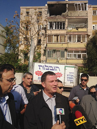 Yuli-Yoel Edelstein - Edelstein as Information Minister, briefing reporters at site of Hamas rocket attack, 2012