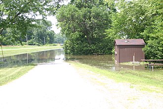 Illinois Route 92 - Roadside park along flooded Mississippi River, on Illinois Route 92 at Andalusia IL.