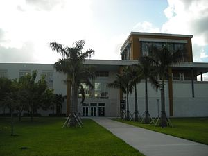 Florida International University College of Law - A view of the main entrance to Rafael Díaz-Balart Hall, home of the FIU College of Law.